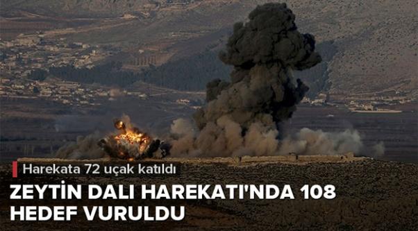 Zeytin Dalı Harekatı#039;nda 108 hedef vuruldu