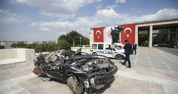 Darbecilerin zarar verdiği araçlar Meclis#039;te