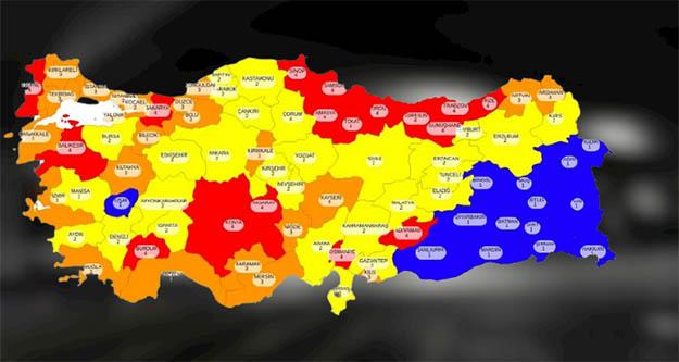 İşte   İllere göre Türkiye'nin risk haritası