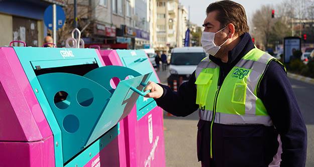 Lüleburgaz'da yeni tip  renkli konteynerler