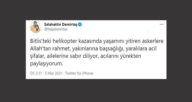 Selahattin Demirtaş'tan şehitler için taziye mesajı