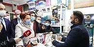 Esnaf pandemi sürecinde yaşadıkları sıkıntıları Akşener'e anlattı